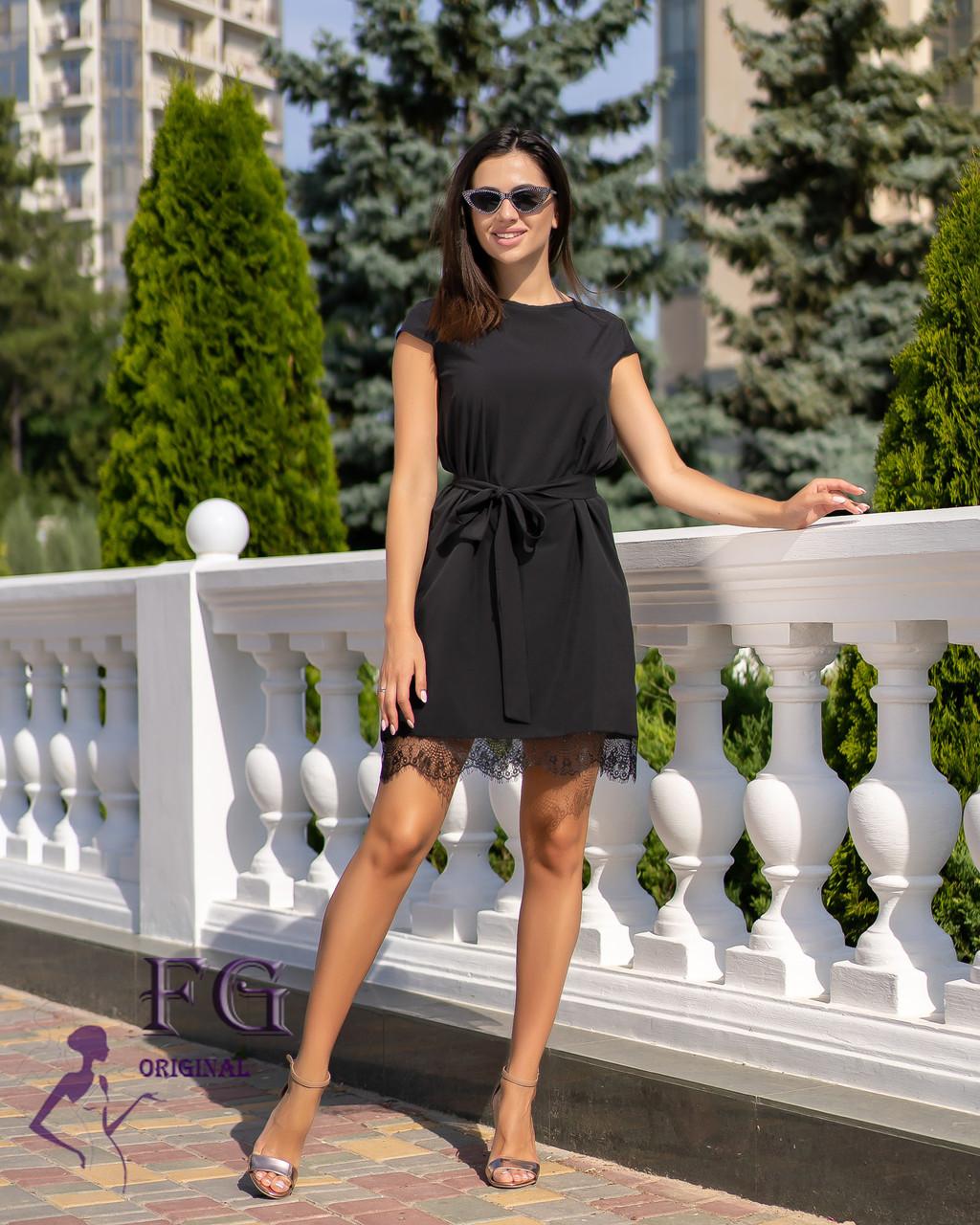 """Летнее элегантное женское платье """"Шерри"""" с кружевом и короткими рукавами черное"""