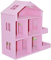 Деревянный кукольный домик «Дженифер» 3-х этажный кукольный домик (Берёзовая Фанера 3мм,Размер: 350*350*150мм)