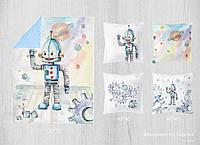 Набор сатиновых панелей Робот 100*75 + 40*40(4)