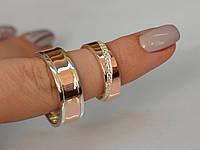Обручальные кольца серебро с золотыми пластинами, пара все размеры