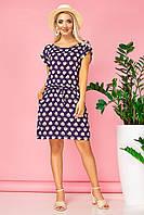 Платье с манжетом и кулиской принт Чашечки