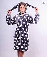 043bfc09e9071 Детский махровый халат на молнии короткий с ушками в горошек Зайка 32-40р.