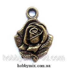 """Метав. підвіска """"троянда"""" бронза (1,5х2 см) 8 шт в уп."""