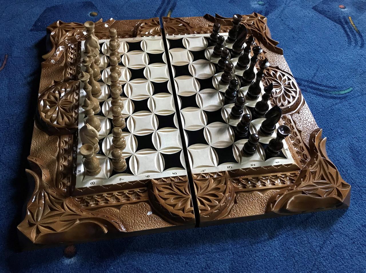 Шахи-нарди-шашки 3 в 1 зі скринькою для фігур
