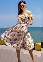 Платье летнее с ананасами ( пляжное на запах ), цвет - розовый , размеры : 42 44 46 k-55682