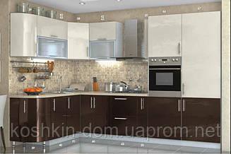 Кухня модульная High Gloss угловая 3200 * 1700 мм, MDF пленочный