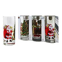 Набор новогодних стеклянных стаканов 6 шт 270 мл для сока, воды, молока Classico Santa Claus UniGlass