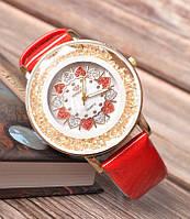 Женские наручные часы с кристалами Orchidea red