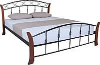 Кровать металлическая с деревянными ножками белая двуспальная Летиция Вуд, фото 1