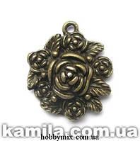 """Метал. подвеска """"роза"""" бронза (2,5х2,8 см) 2 шт в уп."""