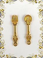 Набор - металлическая вилка и ложка (золото)