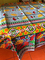 Скатерть льняная на кухонный стол 120*150 с цветами