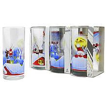 Набор новогодних стеклянных стаканов 6 шт 270 мл для сока, воды, молока Classico Santa & Rudolf UniGlass