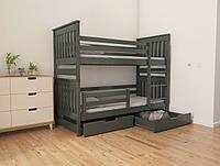 """Двухъярусная кровать трансформер деревянная """"Адель Duo"""" 70*140 размеры бук массив, фото 1"""