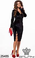 Платье вечернее чёрное бархатное с кружевом и разрезом