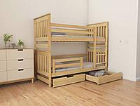 """Двухъярусная кровать трансформер деревянная """"Адель Duo"""" 80*190 размеры бук массив, фото 1"""