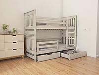 """Двухъярусная кровать трансформер деревянная """"Адель Duo"""" 90*200 размер бук массив, фото 1"""