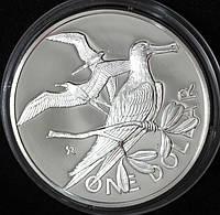 Серебряная монета Британских Виргинских островов 1 доллар 1974 г. Пруф