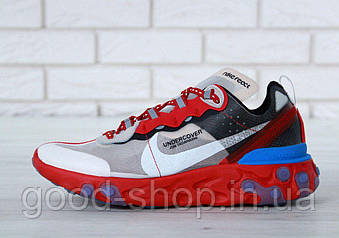 Мужские кроссовки Undercover X Nike Upcoming React Element 87 'Red/Grey/White/Blue'  (люкс копия)
