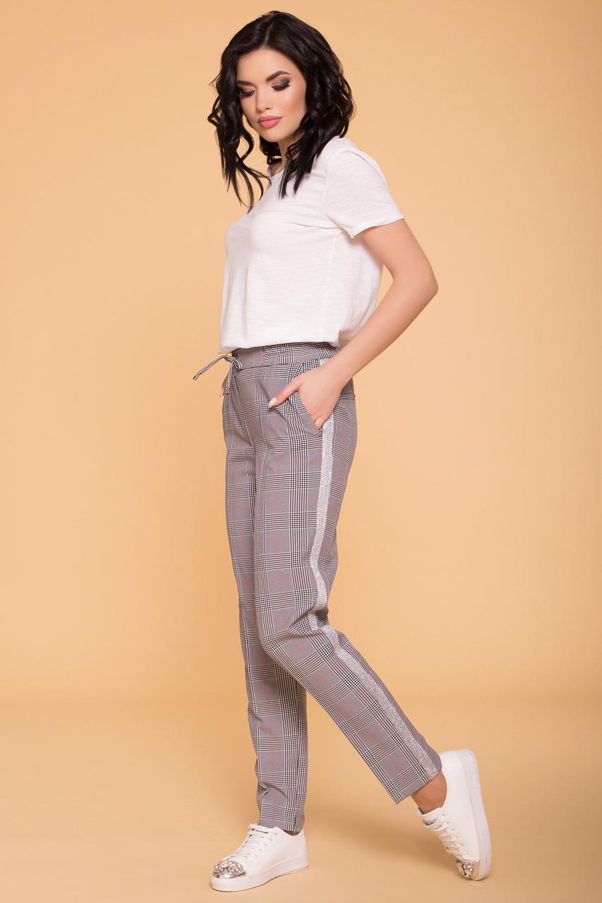 Женские брюки в клетку Джианни с лампасами