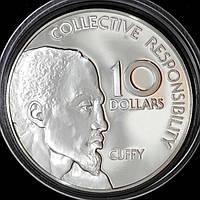 Серебряная монета Гайаны 10 долларов 1976 г. Независимость Каффи. Пруф