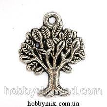 """Метав. підвіска """"деревце"""" срібло (1,7х2,1 см) 8 шт в уп."""