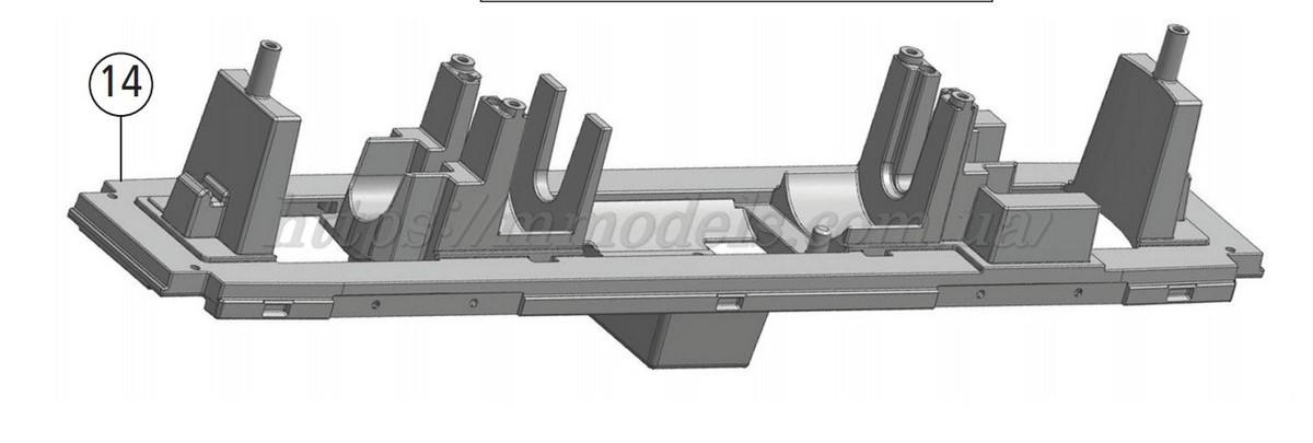 Roco 136198  запасная часть для модели - рама локомотива тепловоза ЧМЭ3-070 СЖД (Roco 72785) масштаба Н0,1:87