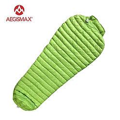 Пуховый спальный мешок AEGISMAX UL-Wing GREEN. +11°C +6°C. 800 FP. Размер  M. Пуховий спальний мішок кокон.
