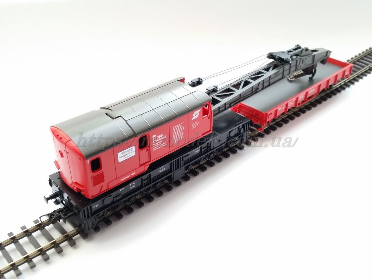 Roco 56239 Кран шестиосный с платформой принадлежности Austrian Federal Railways ÖBB /  1/87