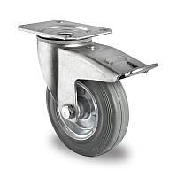 Поворотное колесо с тормозом диаметром 100 мм из стандартной серой резины