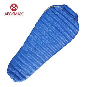 Пуховый спальный мешок AEGISMAX M2 +7°C +2°C. Размер M 800 FP. Пуховий спальний мішок кокон.