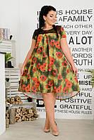 Платье женское короткое на кокетке свободного кроя (К28355), фото 1