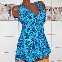 Батальный сине-голубой, купальник-платье (64 раз.) для крупных дам, раздельный, высокие плавки, мягкая чашка.