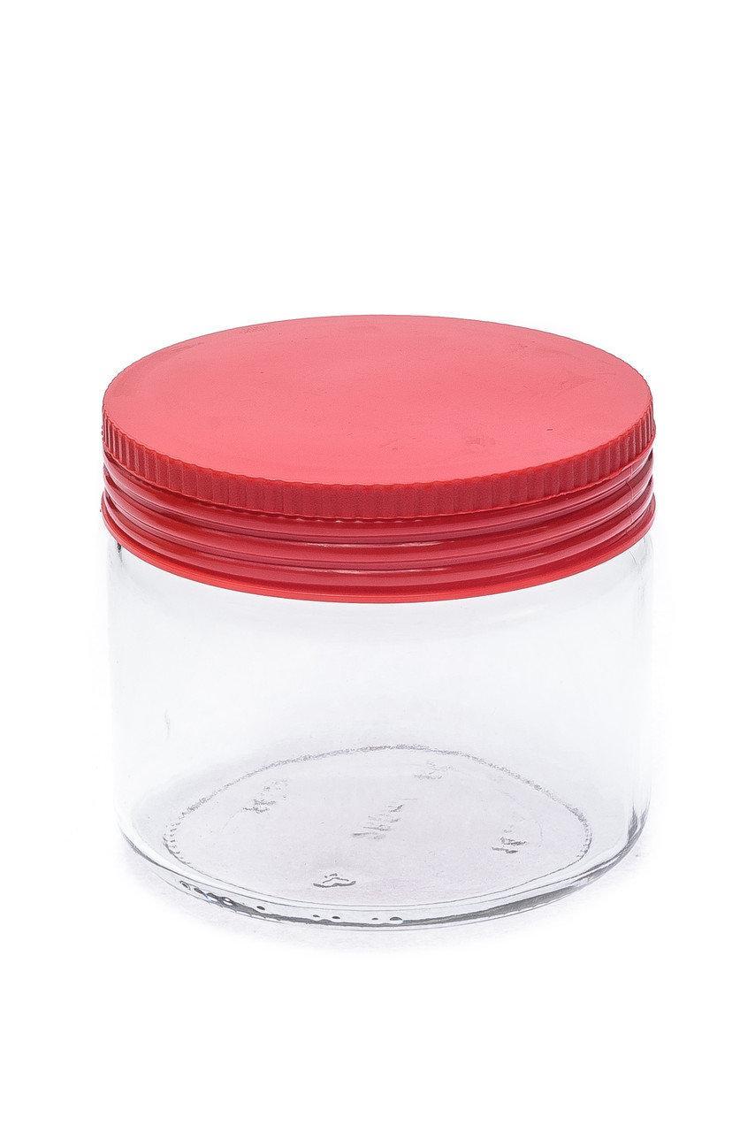 Банка стеклянная 330 мл с пластиковой красной крышкой для сыпучих Италия Everglass