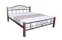 Кровать металл с деревянными ножками двуспальная Лара Люкс Вуд , фото 1