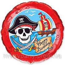 """Happy Birthday! Пират 18"""" (45 см) круг Flexmetal Испания шар фольгированный"""