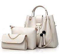 Набо женских сумок 3 в 1 (шоппер, косметичка и клатч) Viva milk