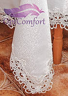 Скатерть с ажурным кружевом 150х220. Цвет белый