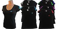 Футболка женская трикотаж черная. Цвет отделки в ассортименте.