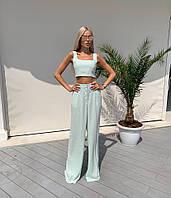Женский костюм, топ+ брюки с завышенной талией