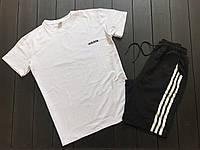 Мужской летний костюм футболка и шорты адидас три полоски, Adidas, реплика