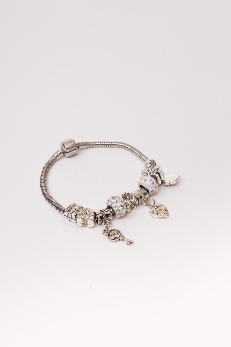Браслет с подвесками шармами Fashion Jewelry - серебряный цвет, ONE SIZE (есть размеры)