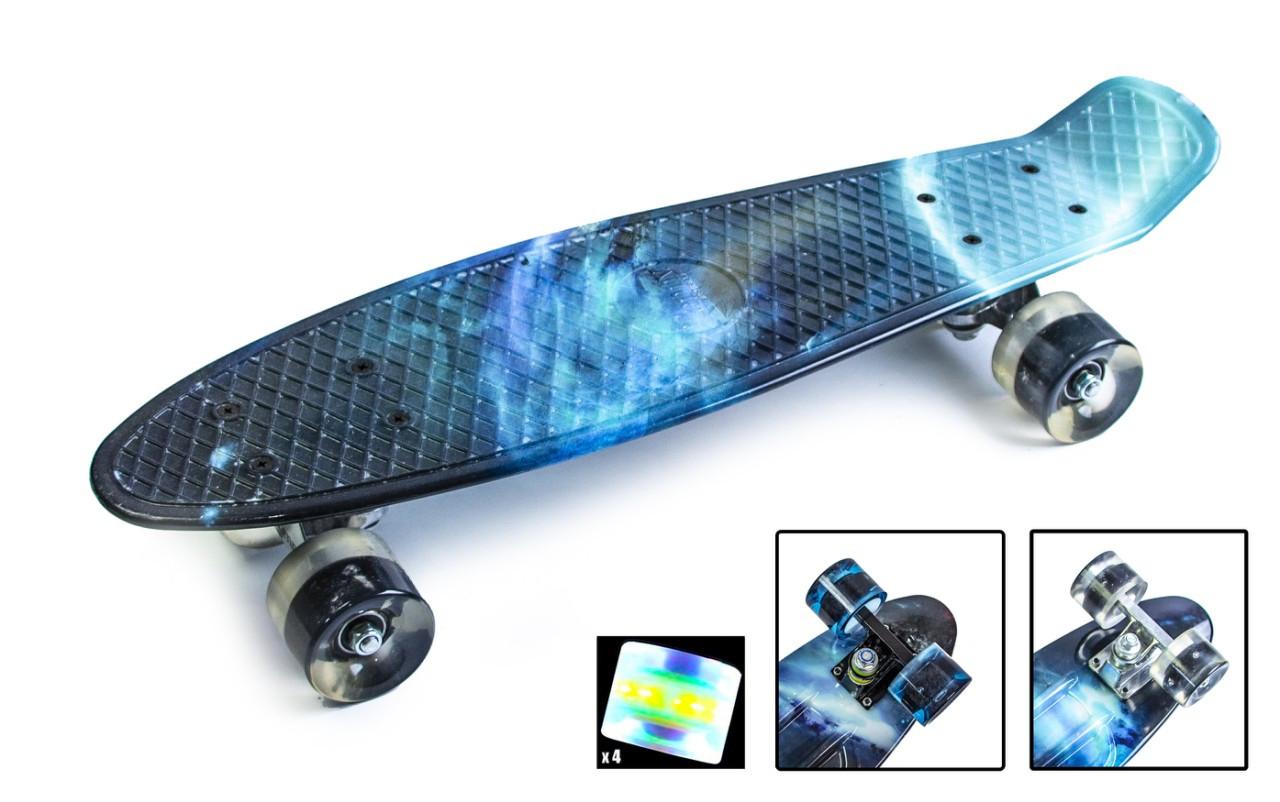 """Скейт. Пенни борд. Penny Board """"Galaxy"""" Светящиеся колеса."""