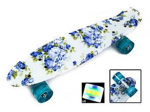 Пенні Борд Penny Board 22Д Blue Rose Світяться колеса