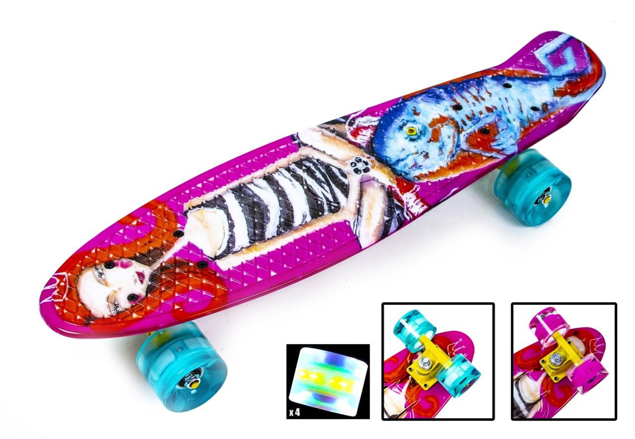 """Скейт. Пенни Борд. Penny Board """"Little Mermaid"""" Светящиеся колеса."""