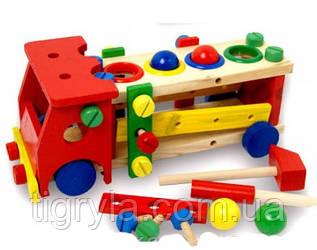 Деревянная машинка стучалка с инструментами конструктор с шариками