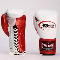 Перчатки боксерские кожаные на шнуровке TWIN (белый-красный)