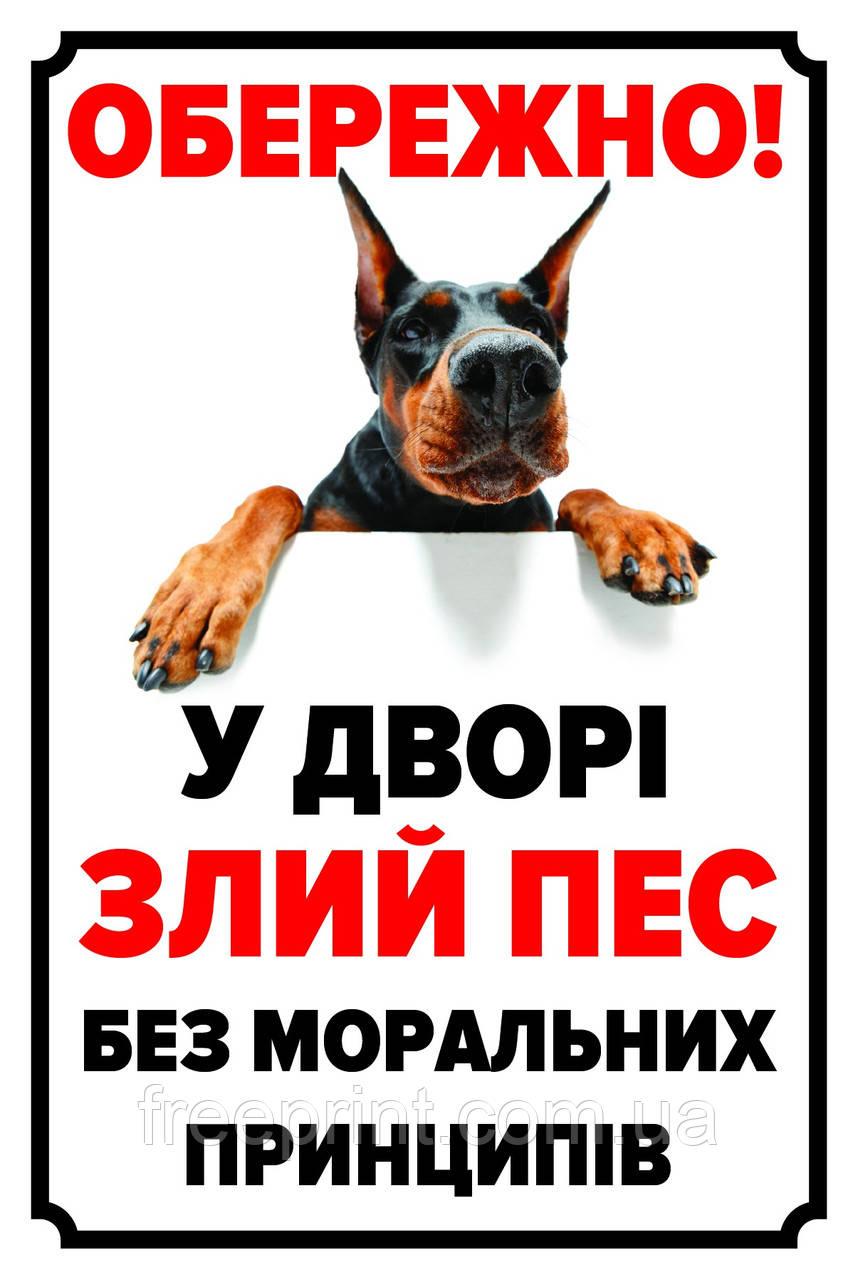 Табличка собака, осторожно собака, табличка с доберманом. Печать по предоплате