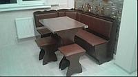 Кухонный уголок Лорд с раскладным столом +2табурета - Орех/Винил Коричневый