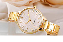 Модные женские наручные часы сталь золотые